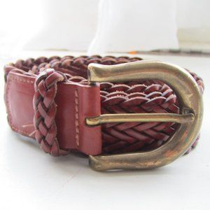 Vintage Land's End Braided Leather and Brass Belt